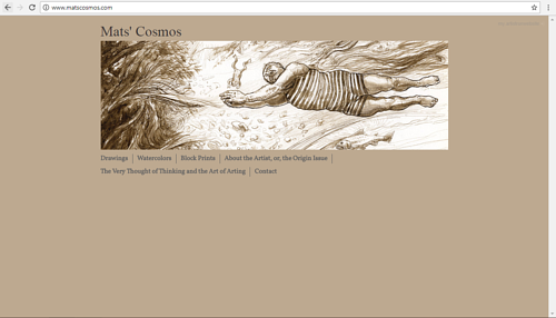 A screen capture of Mats Olsson's art website