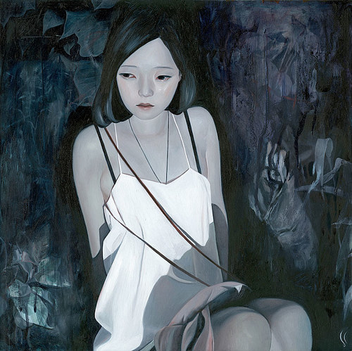 A painting of a woman sitting in a dark wood