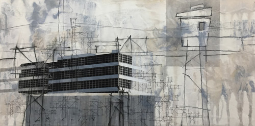 A mixed media artwork with neutral colors and architectural imagery