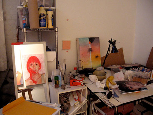 A photograph of Jenny Morgan's art studio