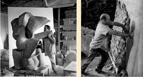A diptych photo of Peter Voulkos and John Mason in their shared studio in the 1950s