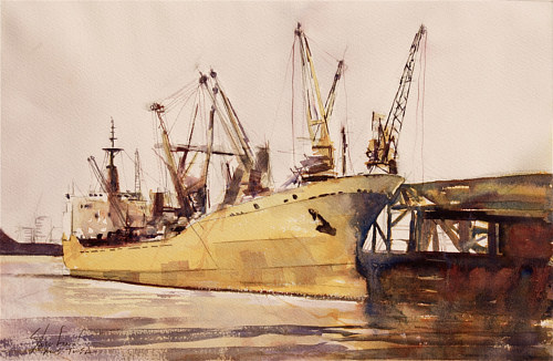 A watercolor painting of a yellow sailing ship
