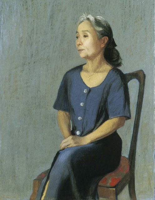 A painting of a woman sitting on a chair in a grey dress