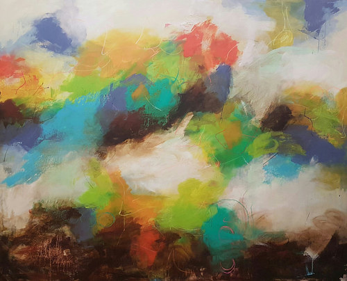 An abstract painting with separate planes of color