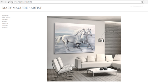 A screen capture of the front page of Mary Maguire's art website