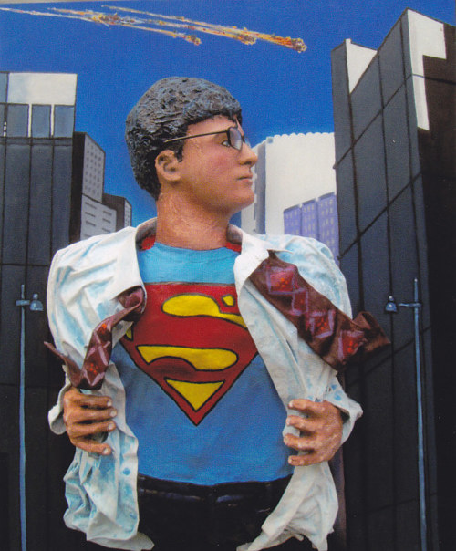 A three-dimensional artwork depicting Clark Kent