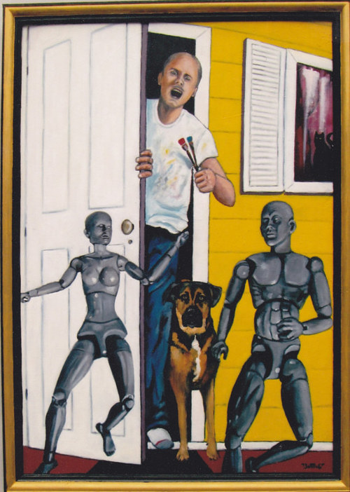 A painting of artist's mannequins escaping the studio