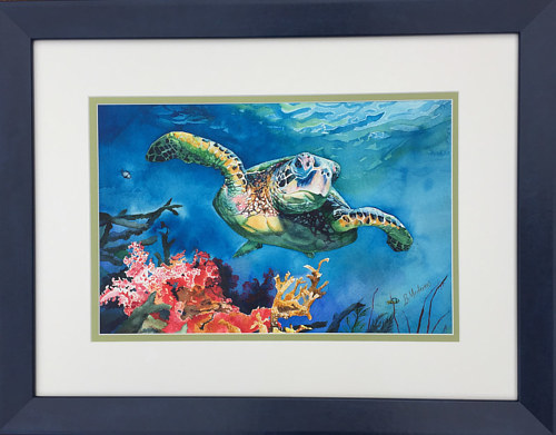 A watercolor painting of a Loggerhead sea turtle