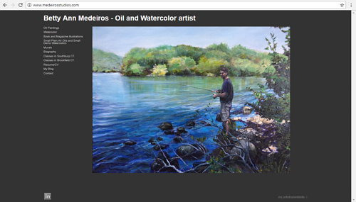 A screen capture of Betty Ann Medeiros' art website
