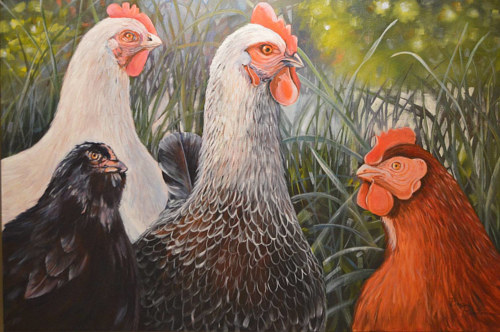 A painting of a group of chickens