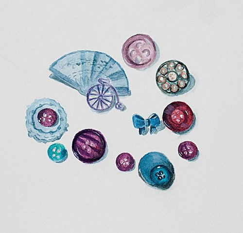 Watercolour painting of buttons