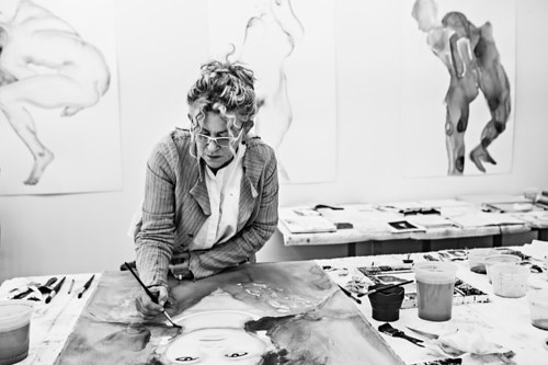 A photo of Patricia Cronin at work in her studio