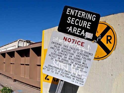 A photograph of a warning sign by Mark Essner