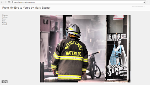 The front page of Mark Essner's photography website