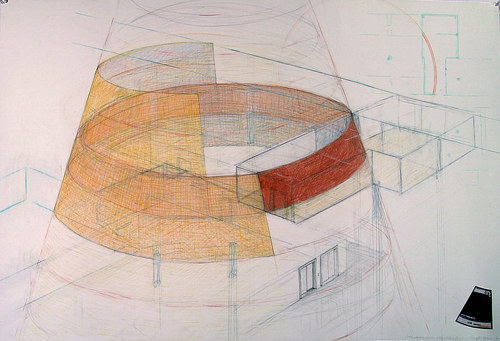 A drawing of a rounded structure by Stephane Gilot