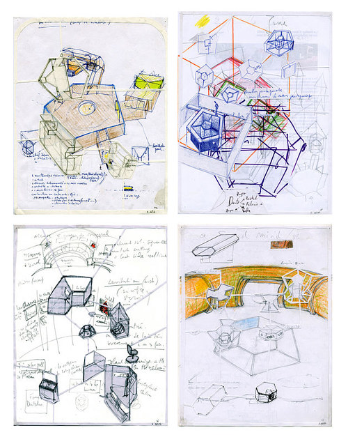 A collage of drawings detailing plans for a pavilion