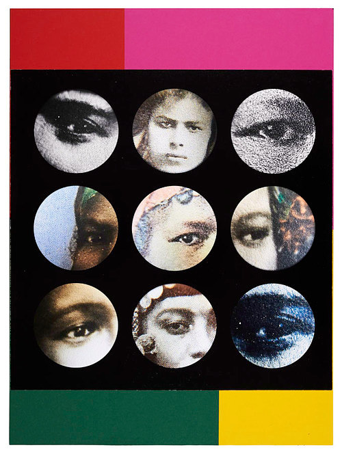 A photo-collage of women's eyes