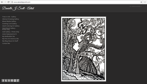 A screen capture of Danielle J. Scott's art website