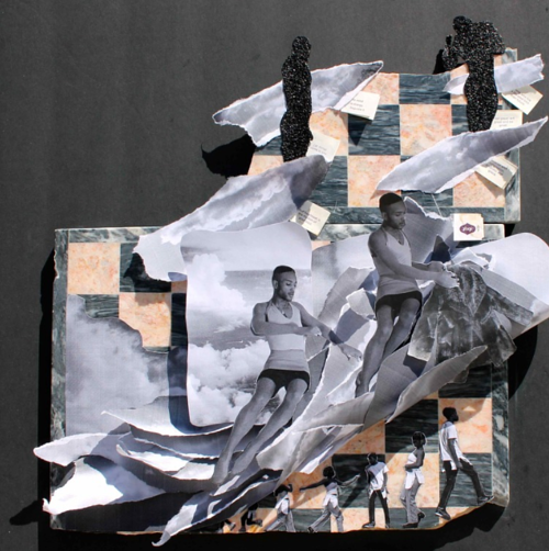 A collage in black and grey by Devin N. Morris