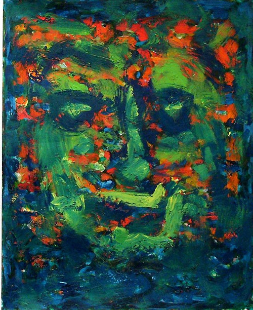A painting of a vague face in green and blue