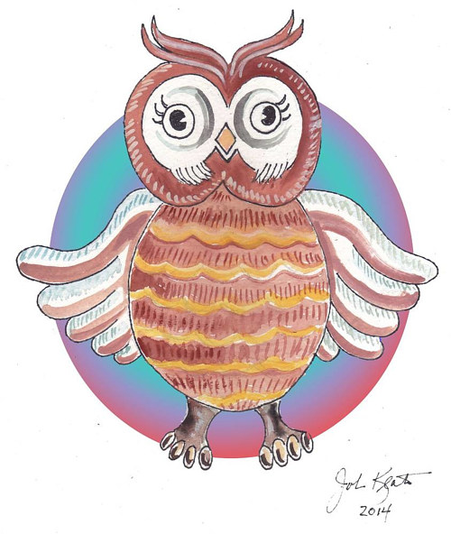 A drawing of a cartoon owl