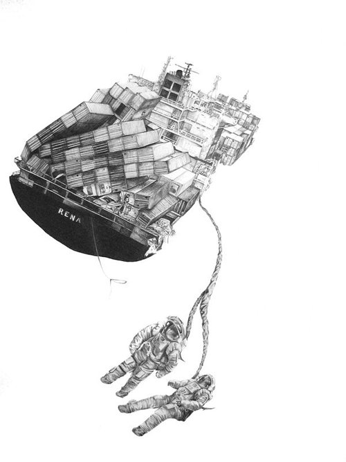 Drawing of container ship with astronauts attached to it