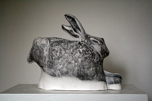 A sculpture of a soft-looking rabbit