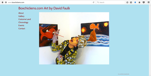 A screen capture of Box Chickens, David Faulk's art website