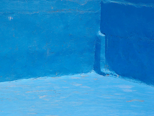 A photograph of a blue corner