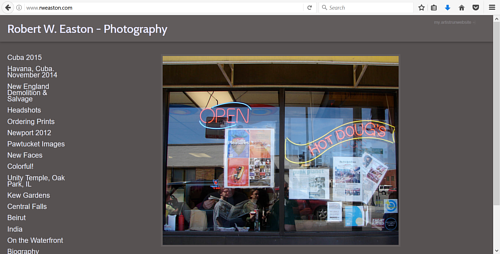 A screen capture of Robert Easton's photography website