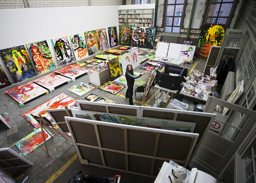 A photo of Johnathan Meese at work in his studio