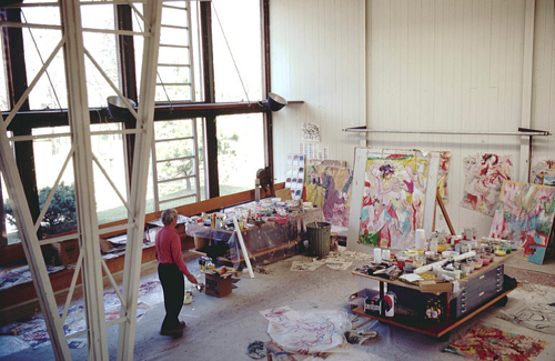 A photo of Willem de Kooning in his art studio