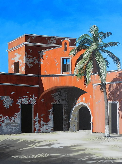 Painting of building with palm tree