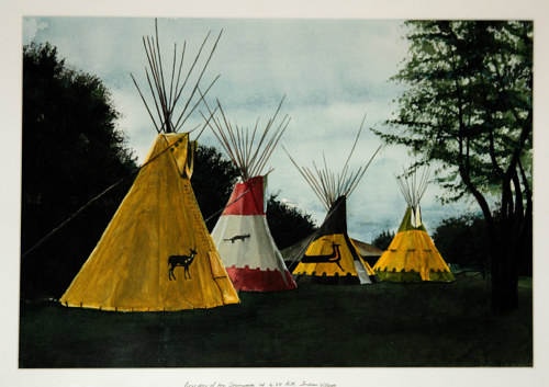 A painting of a group of teepees in early morning