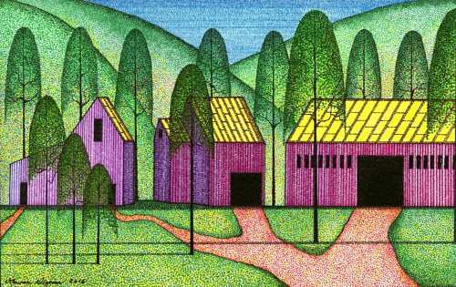 A pen and ink drawing of colored buildings behind silhouetted trees