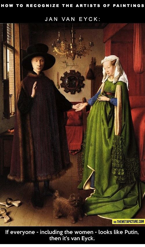 Painting by Jan Van Eyck of two people holding hands