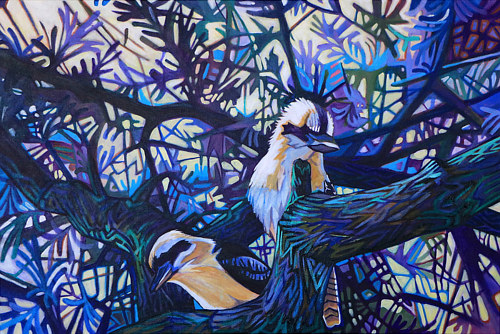 A blue painting of two kookaburras sitting in a tree