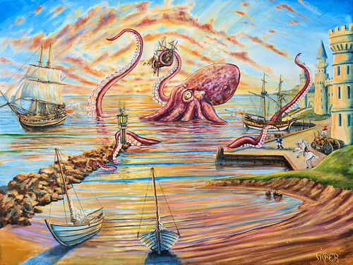 A painting of a giant octopus terrorizing a beach