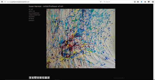 A screen capture of the front page of Susan Harmon's art website
