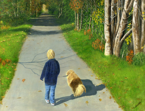 A painting of a child and a dog on a wooded path