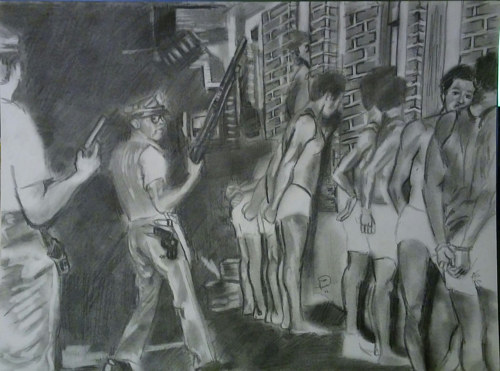 A black and white painting of police arresting members of the Black Panther Party
