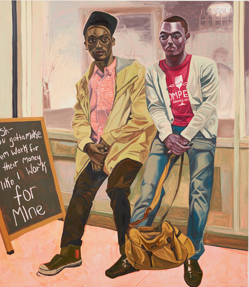 A painting of two young black men sitting outside of a shop