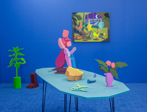 A painting of three-dimensional figurative forms in blue and pink tones