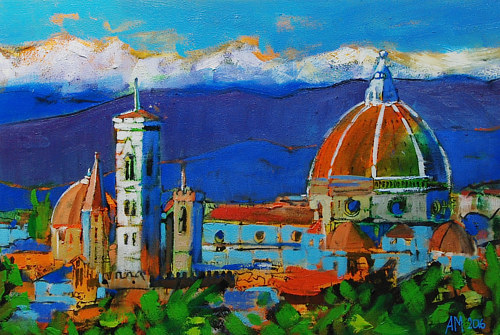 A painting of an Italian skyline