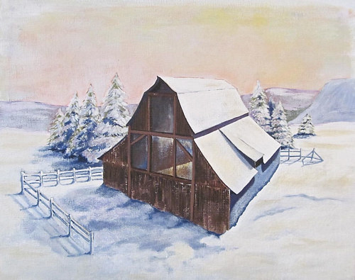 An oil painting of an abaondoned barn in the snow