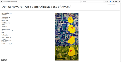 A screen capture of Donna Howard's art website
