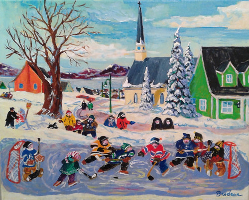 A painting of kids playing hockey in Quebec