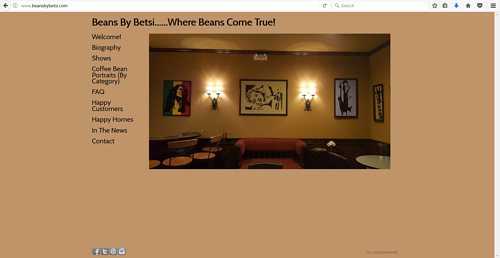 The front page of Betsi Shelffo's art website