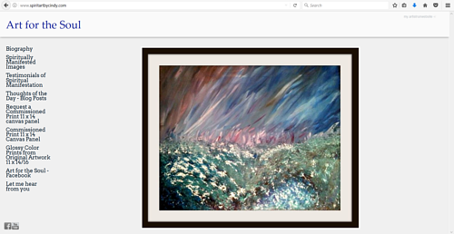The front page of Cindy Snapp's Art for the Soul website