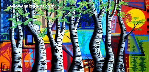 A painting of aspens in front of an abstract background